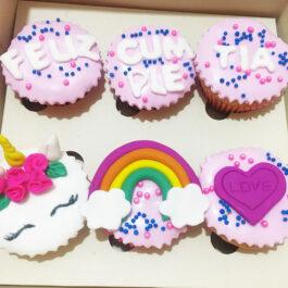 Cupcakes Feliz cumpleaños Unicornio