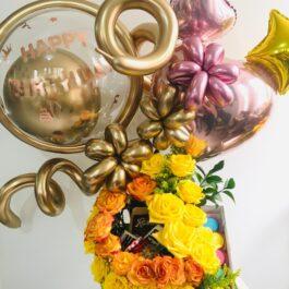 Caja sorpresa floral balloons